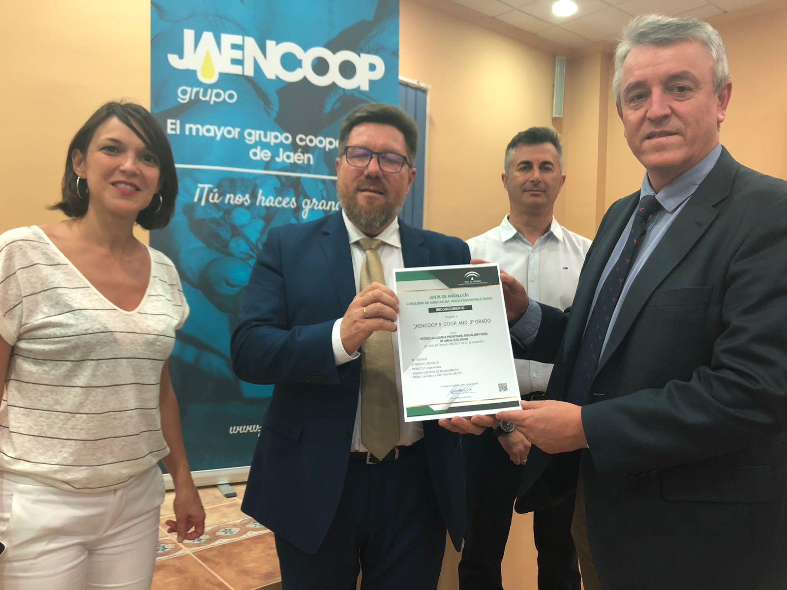 La Junta de Andalucía reconoce al Grupo Jaencoop como Entidad Asociativa Prioritaria de Andalucía