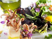 Variado ensaladas con calamarcitos salteados - Jaencoop